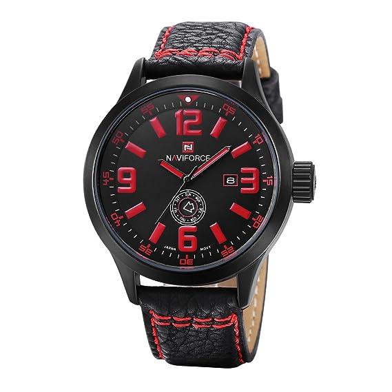 Hombre Reloj de cuarzo, Relojes militares 30m impermeable Calendario Semana Aire libre Sportuhr Casual Resistente a los golpes-C: Amazon.es: Relojes