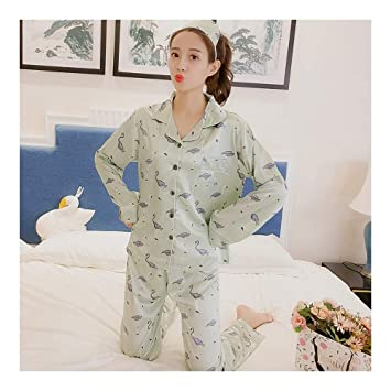 3d6eb244c8 HAOLIEQUAN Elegante Conjunto De Pijama De Seda Cómodo Pijama Conjunto De  Impresión Pijama Conjunto De Manga Larga Pijama Otoño Invierno Conjunto De  Pijama ...