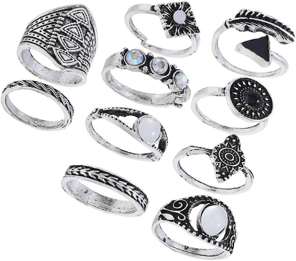 FENICAL Anillos de Dedo étnicos Conjunto exagerado combinación de Piedras Preciosas Anillos Traje de la joyería para Mujeres niñas Paquete 10 unids (Plata)