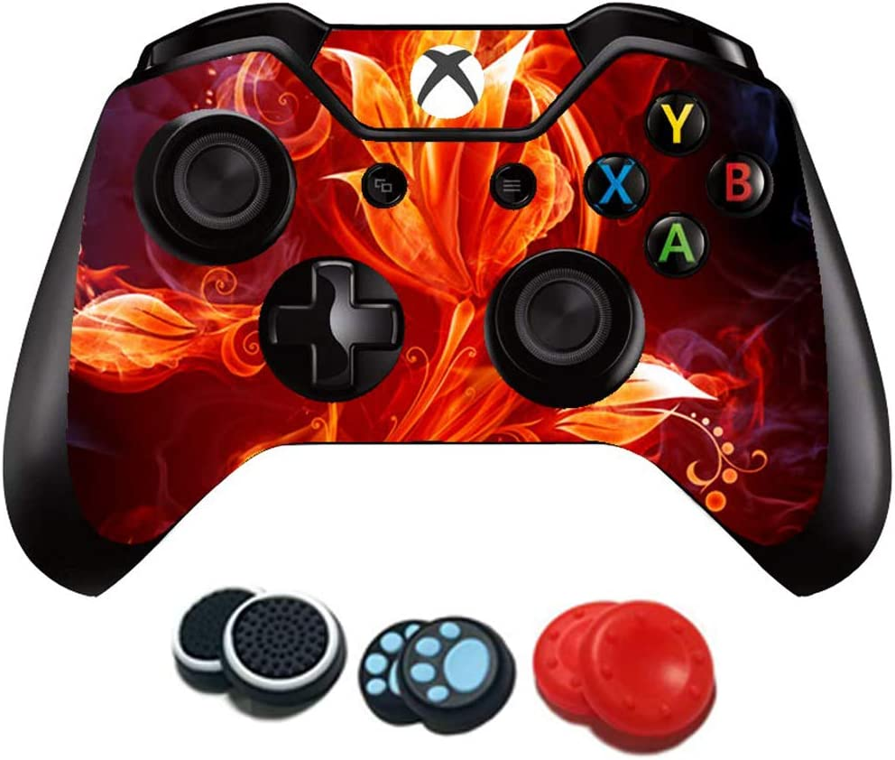 UUShop Protective Vinyl Skin Stickers for Microsoft Xbox One S with Two Free Wireless Controller Decals Red Nubula