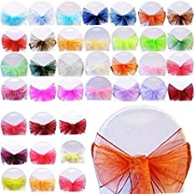 Trimming Shop 100 Organza Sash For Chair Covers Decorative Full Bow For Wedding Anniversary And Parties Colourful Ribbon For Seats Purple