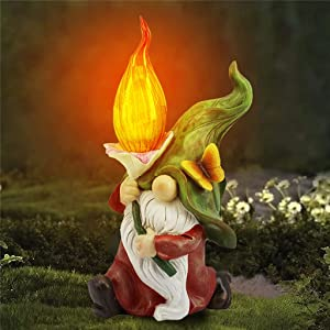 Garden Gnome Statue Outdoor Decor, Garden Statues, Resin Gnome Figurine Holding Bright Solar-Powered Light Up Glass Orb, Spring Summer Sculpture Ornaments for Patio Yard Lawn Pond (MHQX1210427MC03)