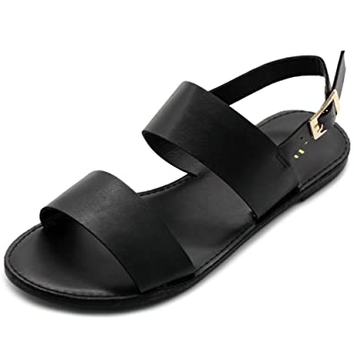 c3182eb2cf39e Ollio Women s Shoe Two Strap Sling Back Flat Sandals MG31 (6 B(M)