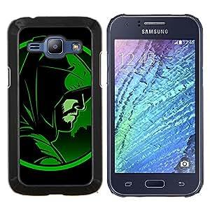 KLONGSHOP // Cubierta de piel con cierre a presión Shell trasero duro de goma Protección Caso - Flecha héroe - Samsung Galaxy J1 J100 //