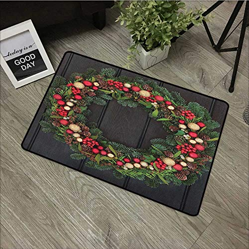 Meeting room mat W19 x L31 INCH Christmas,Christmas Wreath Design with Little Baubles Mistletoe Spruce Fir Dark Oak Image, Multicolor Natural dye printing to protect your baby's skin Non-slip Door Mat