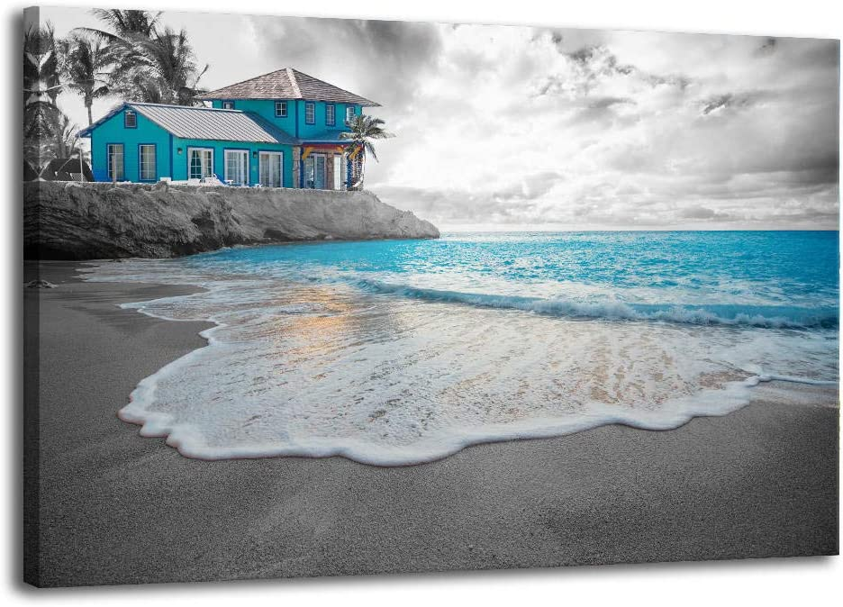 XF Canvas Wall Art for Bathroom - Black and White Nature Pictures of Teal Ocean Beach Landscape Posters Prints Scenic Pictures Artwork for Bedroom Living Room Kitchen Office Wall Decorations