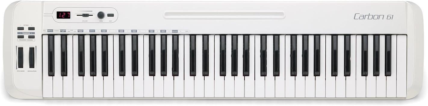 Samson Carbon 61 - Teclado controlador USB/MIDI (61 teclas, con software Native Elements), color blanco