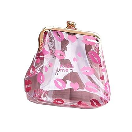 Jxth Titular de la Tarjeta de crédito Lips Lovely Pink Transparent PVC Wallet Mini Bag Bolsa