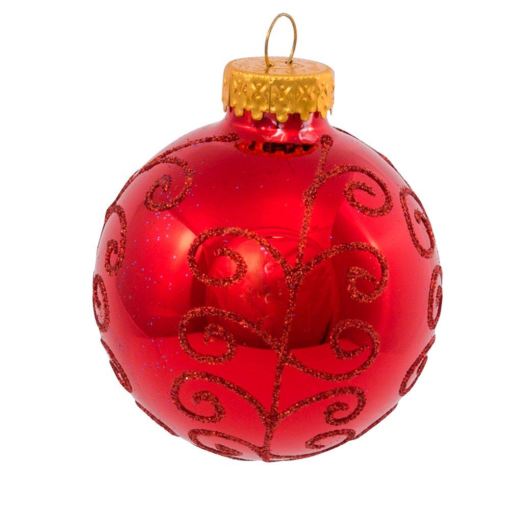 Kurt Adler 6 Red And Lime Green Glitter Ball Christmas Garland