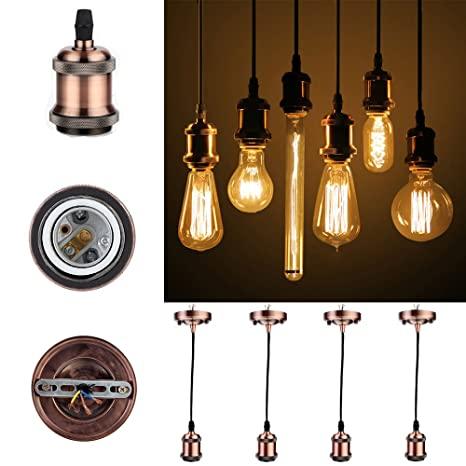 greensun LED Lighting greensun Vintage 4 unidades, E27 Portalámparas antigüedad Edison plana con 1.35 m cable Cable de 3 accesorios para colgante ...