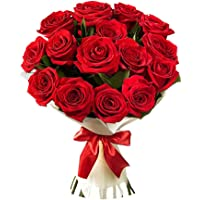 Golden Cart Fresh Flower Delivery of Garden Fresh ROSES FRESH FLOWER BOUQUET to Convey that 'special feeling' of 'Pure love and Commitment' to your loved ones (Bunch of 12, Red)