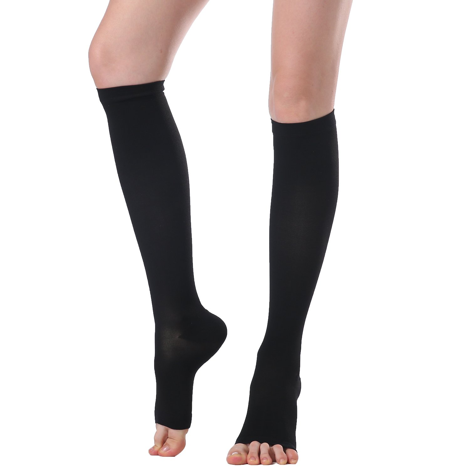 Compression Stockings & Stovepipe Socks Slimming Legging Knee High Sock For Women&Men-20-30mmHg-30-40mmHg Medical Support Hose Compression Socks,Treatment For Swelling,Varicose Veins (L, Black(D))