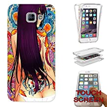 002947 - Sexy Manga Anime Girl With Tattoos Long Hair Design Samsung Galaxy A5 (2017) SM-A520F Fashion Trend CASE Gel Rubber Silicone Complete 360 Degrees Protection Flip Case Cover