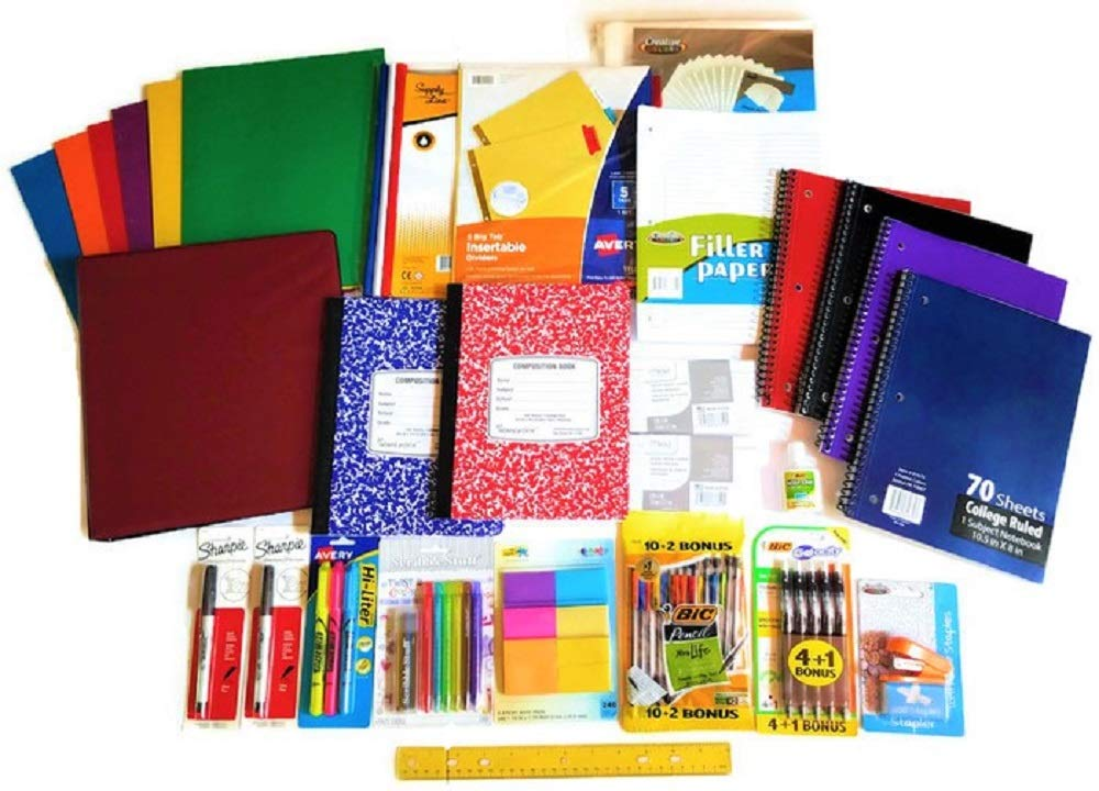 Over 55 Count School Supply Bundle by All Day Gifts, for Middle, High School and College - Binder, Mechanical Pencils, Sharpie, Pens, Hi-liters, Folders, Note Books Plus More (College Ruled) by All Day Gifts