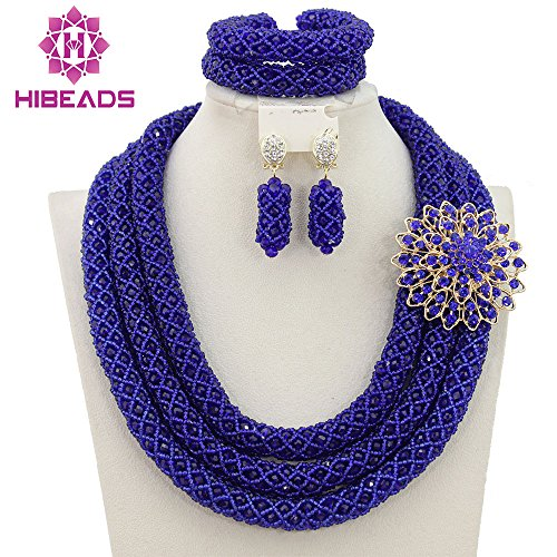 rian African Crystal Beads Jewelry Set Costume Bridal Necklace (Blue) (Handmade Costume Jewelry)