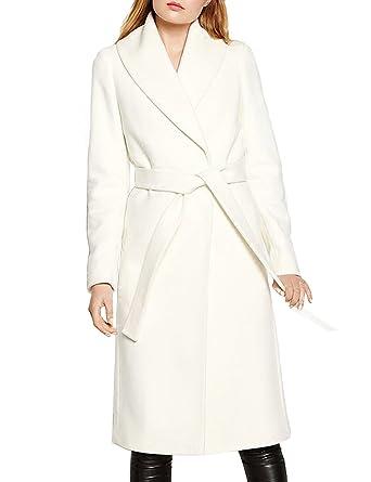 ba21ccd95e21e Amazon.com  Bqueen Women s Slim White Wool Blend Wrap Coat With Belt ...