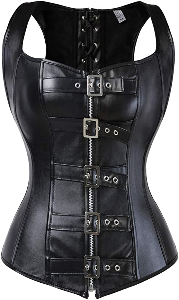 Details about  /Gothic Womens Lace up Overbust Corset Bustier Steampunk Waist Training Shaper UB
