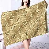 PRUNUS 100% Cotton Bath Towel Damask Patterns Weaving Byzantine Islamic Antique Lace Floral Motifs Nostalgic Retro Chic Deco No Fading Multipurpose