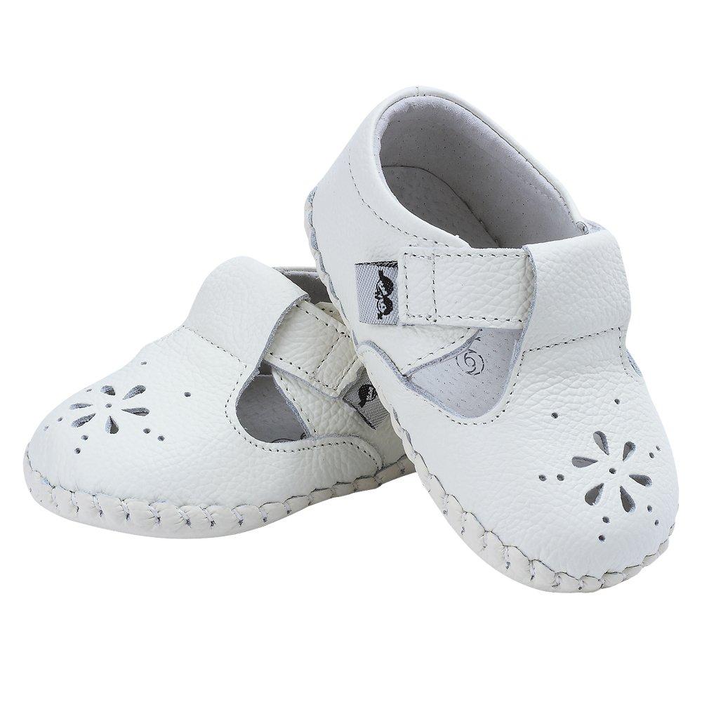 Kuner Baby Girls Genuine Leather Anti-Slip Summer Prewalker Toddler Sandals First Walkers Outdoor Shoes (12.5cm(12-18months), White-2) by Kuner (Image #4)