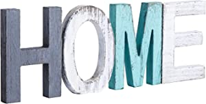 HoreZer Home Decor Signs,Rustic Wood Home Sign, Freestanding Wooden Letters, Rustic Home Signs for Home Decor 15.7 x 5.9 Inch, Multicolor
