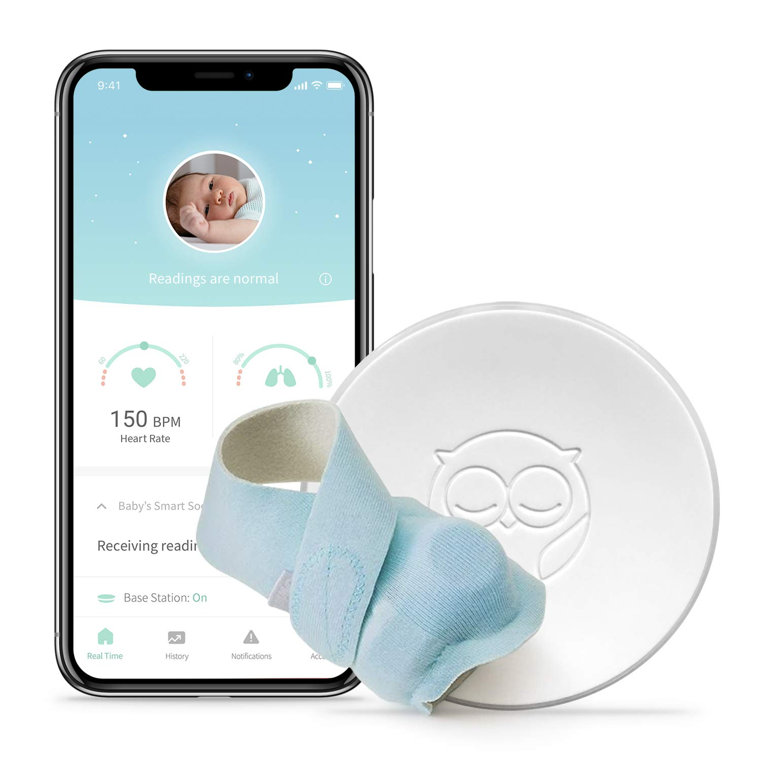 Owlet Smart Sock 2 Baby Monitor, Blue