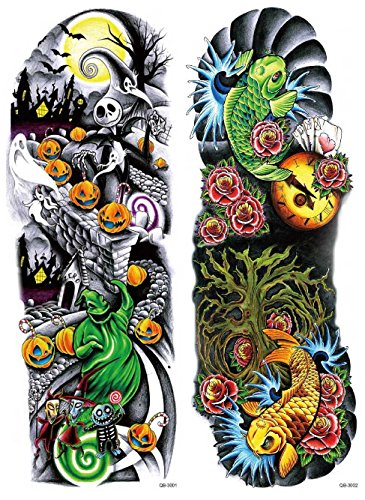 Nutrition Bizz Extra Large Temporary Tattoos Full Half Arm Tattoo Sleeves 20 Sheets for Men Women Teen Fake Tattoo Biker Tattoo Waterproof Stickers for Arms Shoulders Chest & Back by NutritionBizz (Image #2)