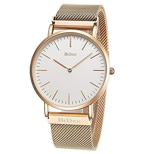 Relojes Unisex para Mujer para Hombre Reloj de Pulsera Minimalista Ultrafino de Moda Reloj analógico de Cuarzo Relojes magnéticos de Malla de Acero ...