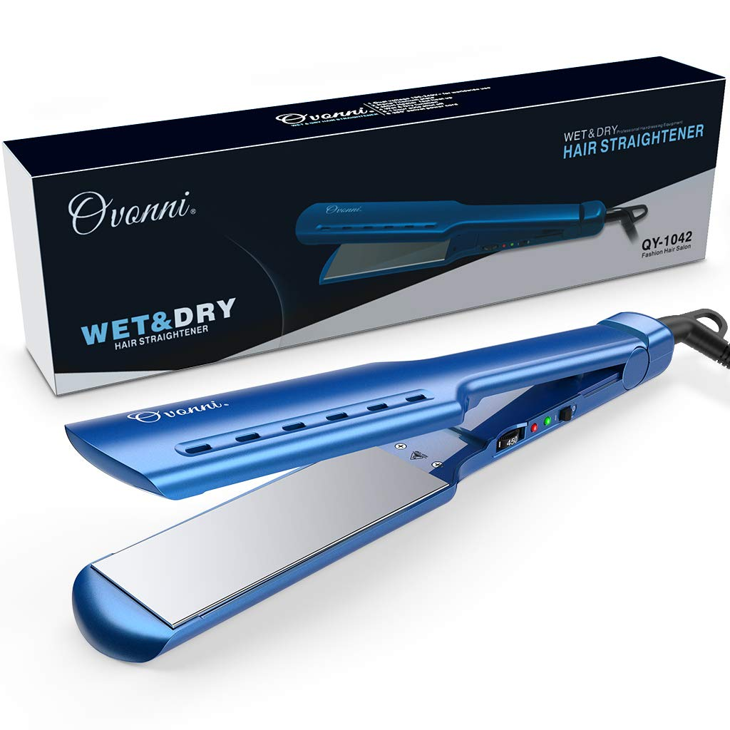 Ovonni Nano Titanium Hair Straightener Dual Voltage 1 3/4 Inch Wide Plate Flat iron Professional Instant Heat Up Auto Shut Off Adjustable Temperature Straightener Iron for All Hair Types (Blue 1.75in) by Ovonni