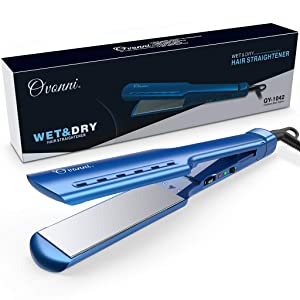 Ovonni Nano Titanium Hair Straightener Dual Voltage 1 3/4 Inch Wide Plate Flat iron Professional Instant Heat Up Auto Shut Off Adjustable Temperature Straightener Iron for All Hair Types (Blue 1.75in)