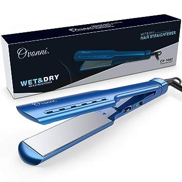 Ovonni Nano Titanium Hair Straightener, Dual Voltage 1 3/4 Inch Wide Plate  Flat iron, Professional Instant