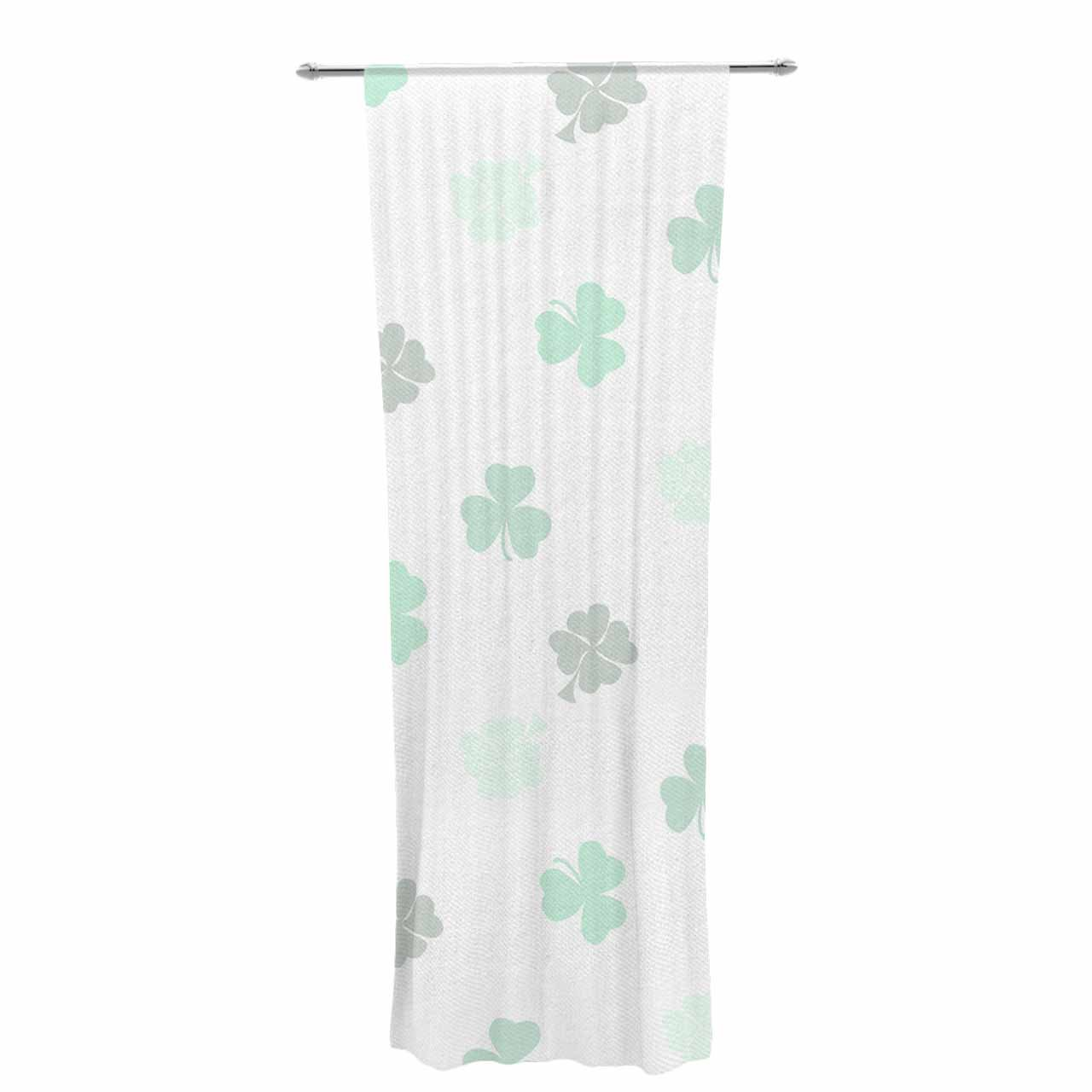 30 x 84 Sheer Curtains Kess InHouse NL Designs Lucky Shamrocks Green Typography Decorative Set