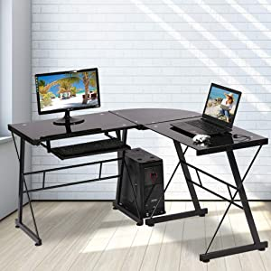 L Shaped Computer Desk Office Desk Gaming Writing Corner Desk Study PC Laptop Table Workstation with Keyboard Tray and CPU Stand Shelf for Home Office Large 3-Piece Modern Glass Computer Desk, Black