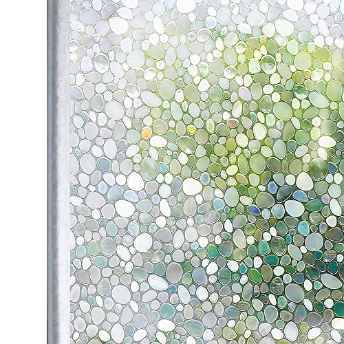 - Homein Window Film Privacy, 3D Crystal Clear Pebble Decorative Stained Glass Window Film Rainbow Effect Removable Self Adhesive Door Sticker Static Cling Window Blind for Kitchen Office 17.5