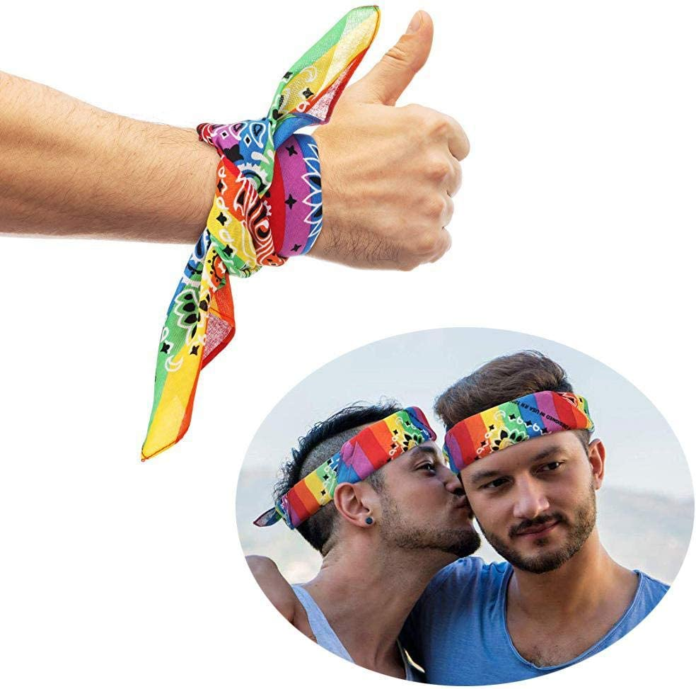 Regenbogen Bandana,4PCS Regenbogen Homosexuell Pride Stirnband Bandana Square Stirnband Hip-Hop Homosexuell Pride Bandana Stirnband f/ür Holiday Festival Party Celebration