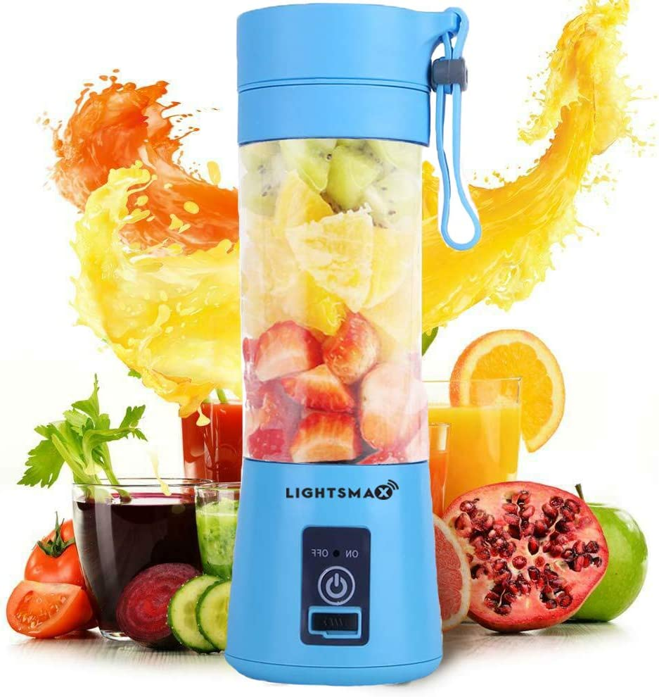 LIGHTSMAX Portable Blender Personal Size Blender Juicer Cup for Juice Crushed-ice Smoothie Shake, Two Rotating Speed, USB Rechargeable, Waterproof Blender for Outdoor Picnic Travel Gym