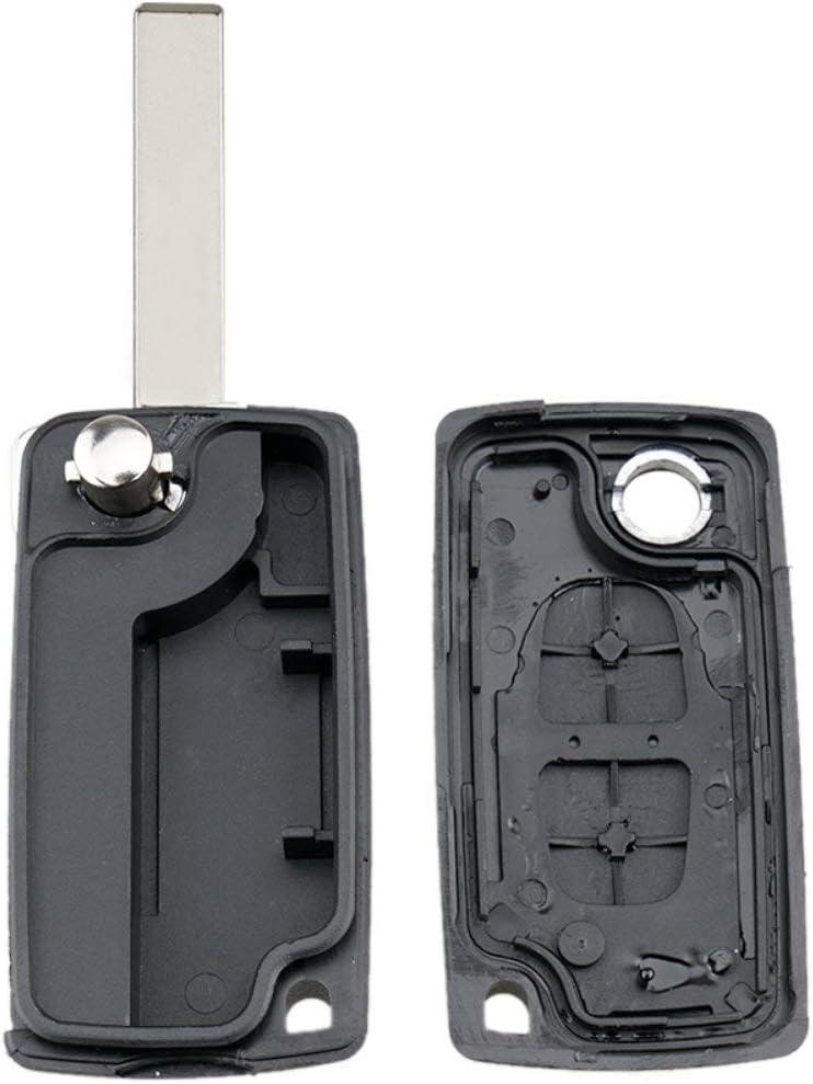 Lorenlli 02B se adapta a Peugeot 2008 3008 5008 2 botones Remote Fob Shell Case Ce0523 Hu83 Shell Cover Key Protector