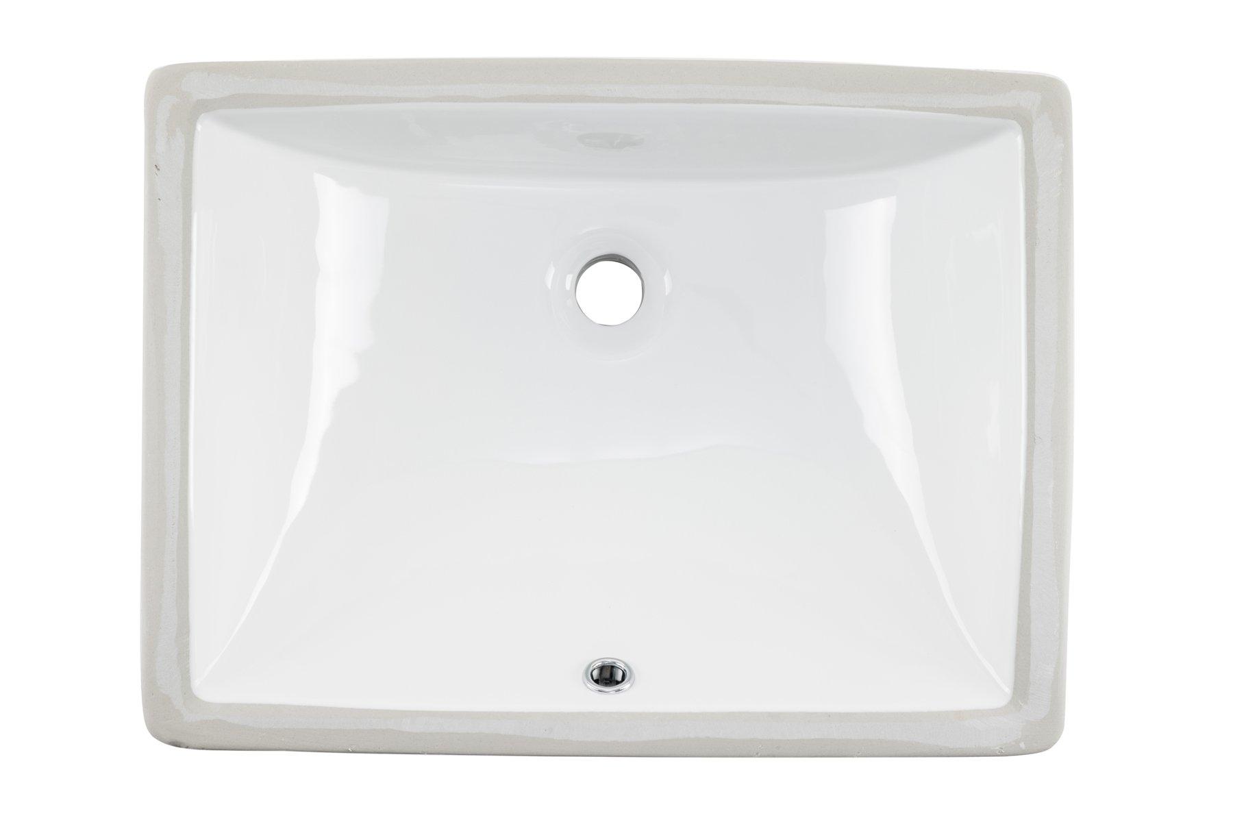 1813CBW 18'' x 13'' White Rectangular Porcelain Undermount Lavatory Bathroom Sink