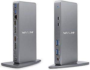 WAVLINK USB 3.0 & USB C Ultra Dual 4K Universal Laptop Docking Station with 2xDisplay Port, 2xHDMI, Gigabit Ethernet,4 USB 3.0 Port, 2 Type C-PD Function Not Supported