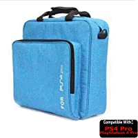 TASLAR Carrying Case Shoulder Hand Bag, Waterproof Shockproof Game System Protective Travel Cover Accessories Compatible with PS4 Pro / PlayStation 4 Pro (Blue)