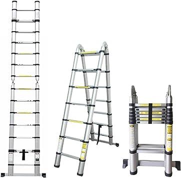 5 m Escalera telescópica aluminio escalera – Escalera extensible – Escalera 14 peldaños, 0.89 m hasta 5 m Escalera de aluminio, 150 kg Resistencia (plegable): Amazon.es: Bricolaje y herramientas