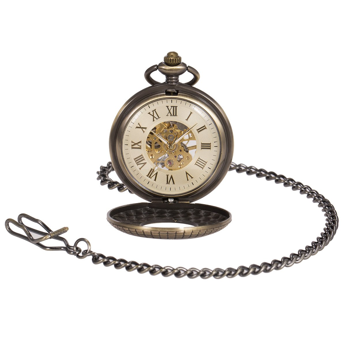 ManChDa Mens imitative wood Luminous Skeleton Mechanical Roman Numerals Pocket Watch With Chain Gift by ManChDa (Image #2)