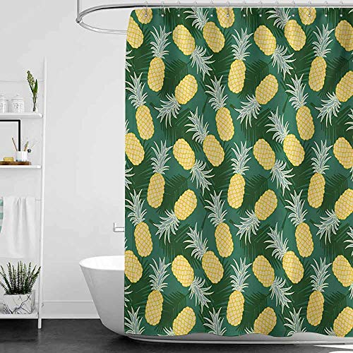 Tankcsard Shower Curtains Plastic Hawaii,Monochrome Palm Leaves with Exotic Pineapples Blooming Foliage,Yellow Fern Green Pale Green W72 x L96,Shower Curtain for Men