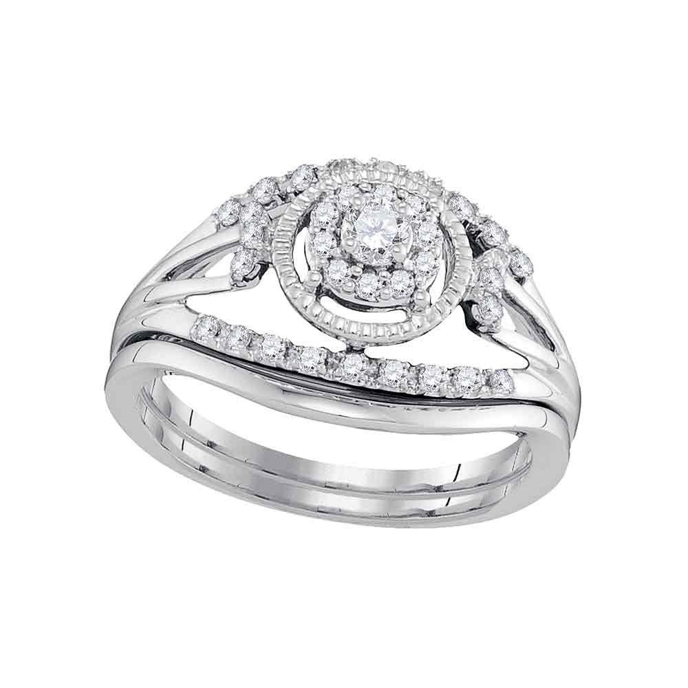 10kt White Gold Womens Round Diamond Openwork Antique-style Bridal Wedding Engagement Ring Band Set 1/3 Cttw