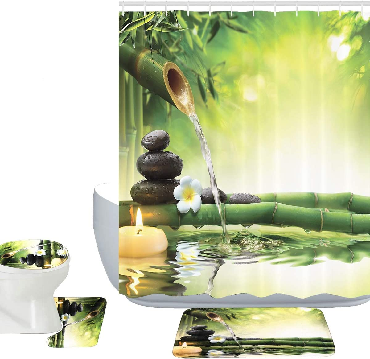 Amagical Zen Garden Theme Decor View Japanese Design 16 Piece Bathroom Mat Set Shower Curtain Set Relaxation Bamboos Candles Bath Mat Contour Mat Toilet Cover Shower Curtain 12 Hooks (Zen Garden)