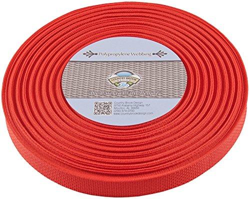 Country Brook 1-Inch Polypropylene Webbing, 100-Yard, Red