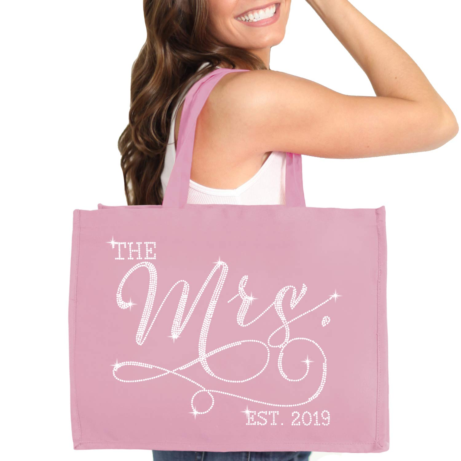 Bride Tote - Crystal The Mrs. EST 2019 Jumbo Canvas Tote Bag - Bridal Tote For the Bride to Be - Dusty Blush Pink Tote(Mrs 2019 RS) DBP by RhinestoneSash