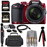 Nikon COOLPIX B500 Digital Camera (Red) + NiMH Batteries and Charger Set + Sony 32GB SDHC Card + Sony 64GB SDXC Card + Memory Card Reader + Tripod + 6 HDMI to Micro HDMI Cable Bundle