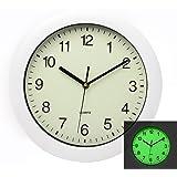 Maytime Luminous Easy to Read Silent Non Ticking Quartz Wall Clock Glow in Dark Wall Clocks 11 Inch White