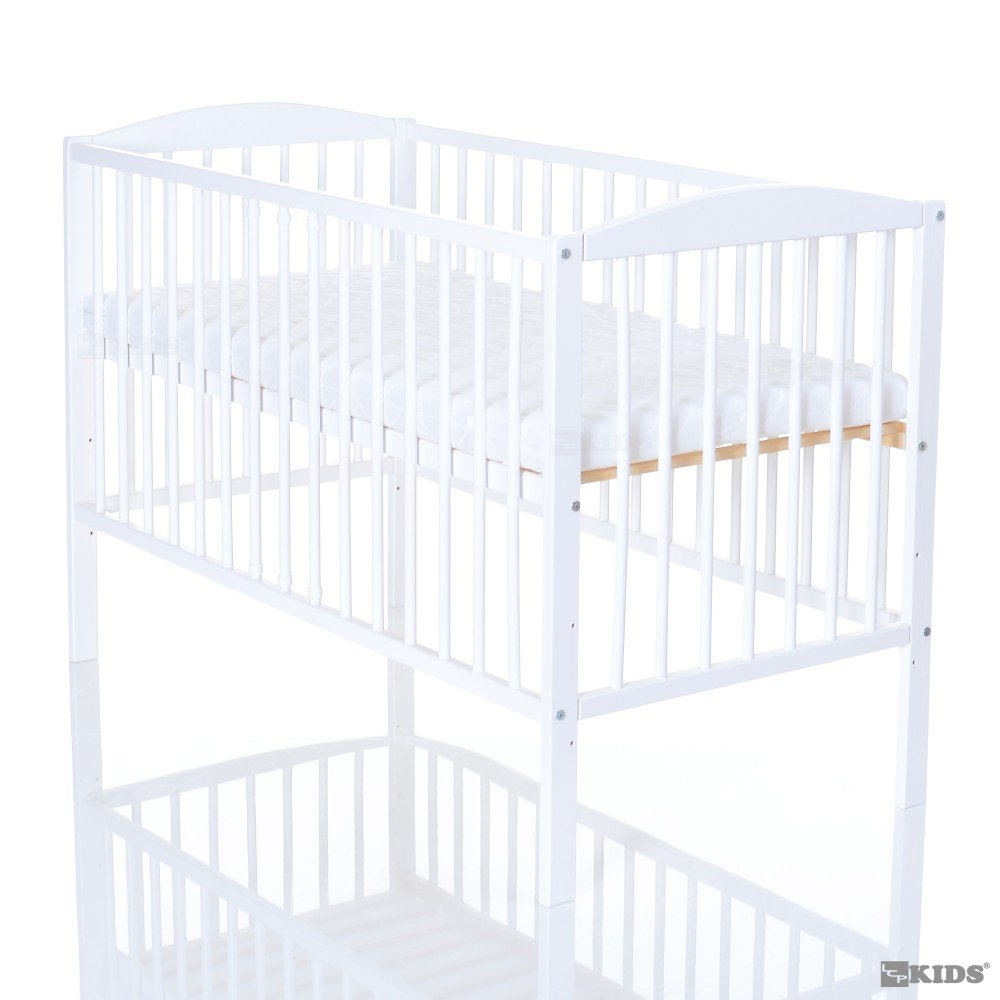 Baby cot 120 x 60 / Baby Bed with mattress 120x60x6 / 3 bars removeable - in nature, white or teak, Colour:white LCP Kids 4250579212625