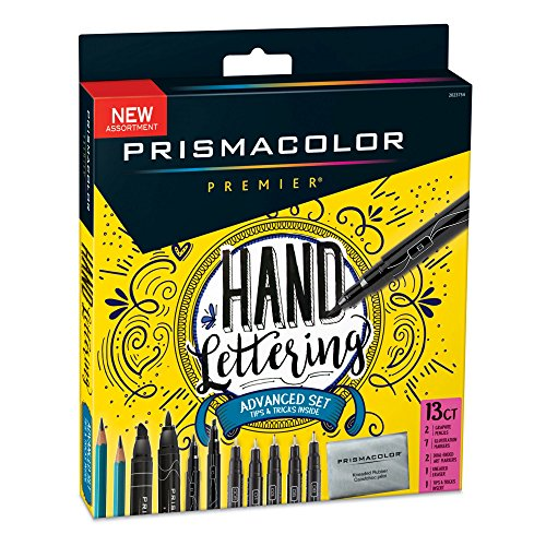 Prismacolor 2023754 Premier Advanced Hand Lettering Set with Illustration Markers, Art Markers, Pencils, Eraser and Tips Pamphlet, 13 Count